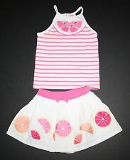 New Gymboree Striped Gem Tank Top & Embroidered Ruffle Skirt Set 2T Fruit Punch