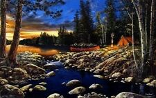 "Headwaters by Jim Hansel Canoe campfire  Lake  Print  16"" x 12"""