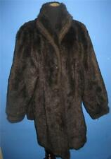 Gallery Deep Brown Long Hair Faux Fur Mink Jacket 16