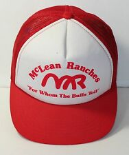 """McLean Ranches """"For Whom the Bull Toil"""" vtg snapback Poly foam truckers hat Red"""