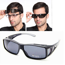Glossy Black POLARIZED SUNGLASSES GOGGLES Cover/Wear Fit Over Wraparound GLASSES