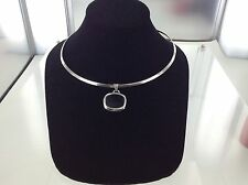 Sterling Silver Choker Necklace & Pendant with Onyx Stone