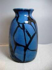 Vintage Signed Numbered Graphic Pottery Vase Made in Austria~Royal Blue & Black