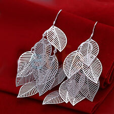 New Fashion Women Sterling Plated Silver Vintage Dangle Charm Earrings Leaves