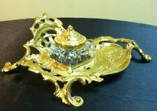 Vintage Virginia Metalcrafters Brass Roccoco Scroll Inkwell & Glass Insert