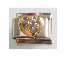 9mm Classic Size Italian Charm  H1  BLUE HEART  MARCH BIRTHSTONE