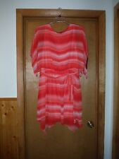 AB Studio Elbow Sleeve Lined Dress size 16 Orange Pink Striped 100% polyester NW