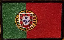 PORTUGAL Flag Patch With VELCRO® Brand Fastener Emblem Black Border