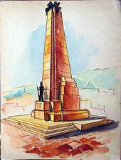 Acquerello '900 su carta Watercolor Architettura futurista cubista razionale-70