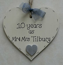 personalised handmade 10th wedding anniversary wooden heart gift/present