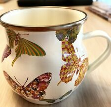 "MacKenzie-Childs Butterfly Garden Enamel Mug - White 3.5"" tall / 16 oz NWT"