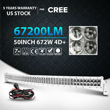 White 50Inch CREE Curved 672W Led Work Light Bar Combo Offroad 4WD ATV UTE 52""