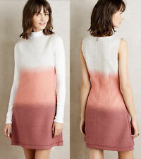 ANTHROPOLOGIE NWT Ombre Sweater Shift Dress Wool Blend Pink Grey Sz XS $238