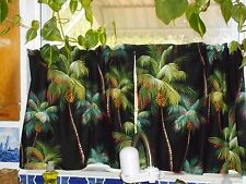 PAIR Tropical Hawaiian Cotton Barkcloth Fabric CAFE' CURTAINS ~Palm Trees-Black~