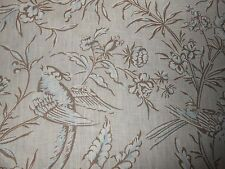 6+Y new SCALAMANDRE fabric AVIARY printed linen in Taupe birds chinioserie