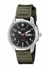 Citizen BM8180-03E Men's Eco Drive Military Green Fabric Band Analog Watch