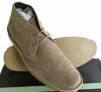 Roamers Real Suede Leather Mens Slim Slightly Rounded Toed Mod Desert Boots Sand
