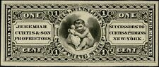 #RS66P4 JEREMIAH CURTIS & SON PROPRIETIES XF-SUPERB PLATE PROOF ON CARD BQ988