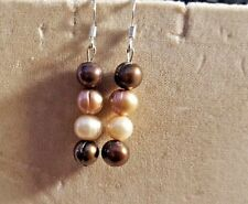"QVC   4 RINGED  PEARL SHADES OF BROWN  EARRINGS 1.75"" 7MM  CHOCOLATE"