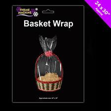 6 x Hamper Wrap cellophane Basket Gift Wrap Large Cello Basket BAG FREE P&P