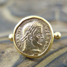 Handmade Brushed Round Roma Coin Ring 24K Gold Over Sterling Silver