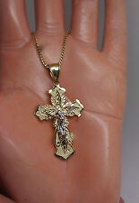 10 K Yellow Gold Diamond Cuts Cross With Jesus 1.8 Inch Long 2.8 Gram