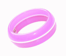 80's Inspired & Girly- Hot Pink & White Stripe 19mm Plastic Hand Ring(Zx213)