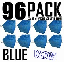 96 Pc BLUE Acoustic Wedge recording Studio Soundproofing Foam Wall Tile 12x12x1