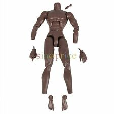 Black Skin 1/6 Scale Action Figure Male Nude Muscle Body Play Toy DIY Model