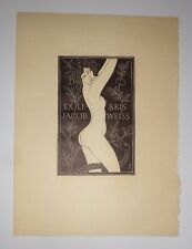 Eric Gill - Eve in the Garden - Ex Libris Bookplate for Jacob Weiss, 1935. Fine
