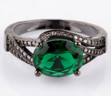Jewelry Size9 emerald CZ Fashion Black 18K Gold Filled Rings 2.26ct BB66
