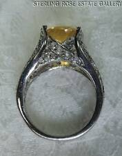 12 x 10mm CITRINE WHITE TOPAZ STERLING SILVER .925 ESTATE COCKTAIL RING sz 6.25