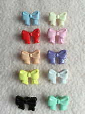 10 x MULTI-COLOURED  BOW SHAPED BUTTONS size approx 16mm x 10mm ~ BABY/CRAFT