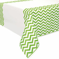 "54"" x 108"" Lime Green White Chevron Zig Zag Party Plastic Table Cover"