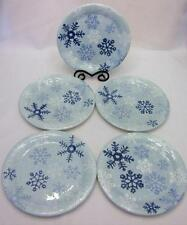 NEW Target Home WINTER FROST Set /5 Dinner Plates Blue Snowflakes Christmas