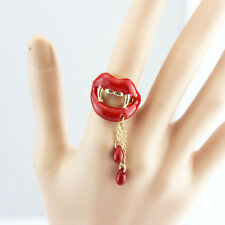R243 Betsey Johnson Sexy Vampire Teeth Red Lips Halloween Party Dangling Ring US