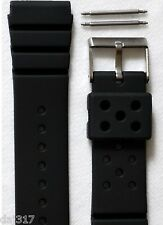 SALE-CONDOR 22mm BLACK SILICONE DIVERS RUBBER WATCH STRAP. Z22,STRONG & FLEXIBLE