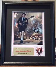 AC/DC Angus Young Preprinted Autograph & Guitar Pick Display Mounted & Framed