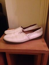Clarks Off White Leather Loafers Size 8D Excellent Condition