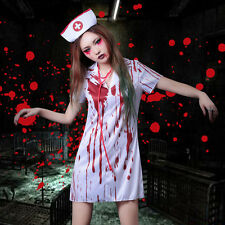 Women Ladies Bloody Zombie Nurse Halloween Horror Fancy Dress Costume Outfit set