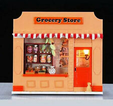 Miniature DIY Dollhouse 3D Wooden House Kit Handwork w/Light Grocery Store Shop