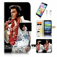 Samsung Galaxy Grand Prime Flip Wallet Case Cover! P0133 Elvis Presley