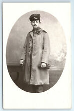 Antique WW1 GERMAN Real Photo RPPC Postcard OFFICER Soldier in Uniform Overcoat