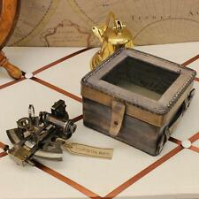 Antique Sextant Kelvin Hughes London Marine Arts In Leather Case Nautical Brass