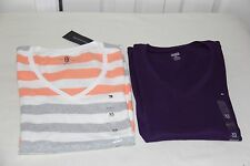 TOMMY HILFIGER WOMENS  V-NECK TEES LOT OF 2 SHIRTS- SIZE- XSMALL - NWT