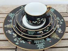 "Vintage 1978 Fitz and Floyd 20 Piece Dinnerware Set ""Chinoiserie"" Black Gold"
