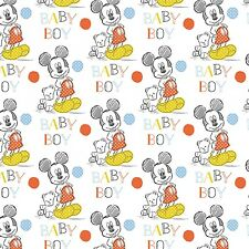"""Disney Mickey Oh Boy Baby Toss 100% cotton 44"""" wide fabric by the yard 36"""""""