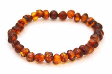 BALTIC AMBER ELASTICATED BRACELET, DARK COGNAC POLISHED BEADS, 16 CM