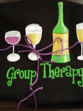 """Ladies Short Sleeve Graphic Tee Wine Bottle, Glasses """"Group Therapy"""" Small NWT"""