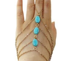 Turquoise Stones Bracelet Bangle Slave Chain Link Finger Hand Harness (P38)